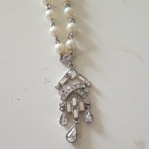pear and rhinestone necklace